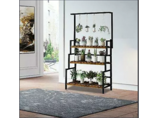 17 Stories 3 Tier Shelf Plant Stand Metal Flower Display Rack Bookcase Stepped Black