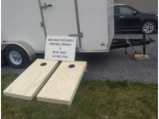 CORN HOLE BOARDS AND BAGS AND LADDER BALL