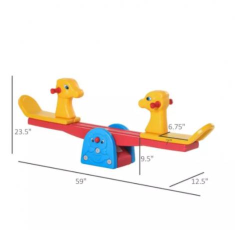 qaba-kids-seesaw-safe-teeter-totter-2-seats-with-easy-grip-handles-indoor-outdoor-backyard-equipment-for-1-4-years-old-big-2
