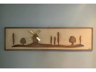 Mid century modern Teak and Brass wall art by Renel -48.5x12.5