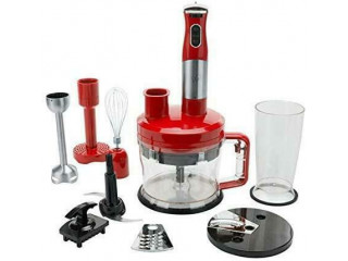 NEW, Wolfgang Puck 7-in-1 Immersion Blender with 12-Cup Food Processor - Red/White/Black